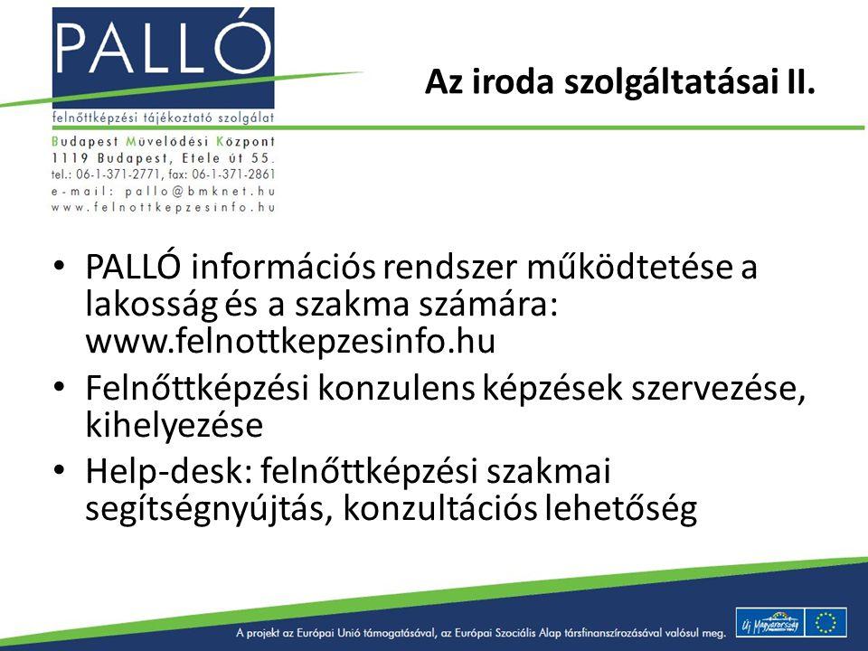 Az iroda szolgáltatásai II. PALLÓ információs rendszer működtetése a lakosság és a szakma számára: www.felnottkepzesinfo.hu Felnőttképzési konzulens k