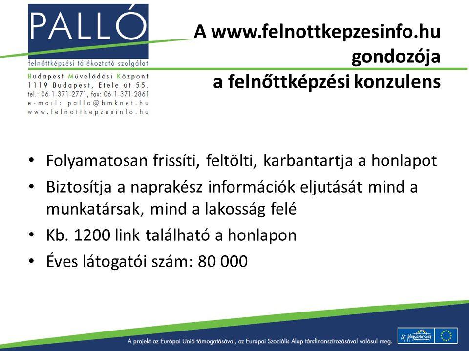 A www.felnottkepzesinfo.hu gondozója a felnőttképzési konzulens Folyamatosan frissíti, feltölti, karbantartja a honlapot Biztosítja a naprakész inform