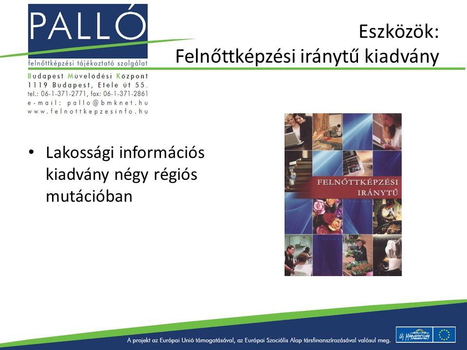 Eszközök: Felnőttképzési iránytű kiadvány Lakossági információs kiadvány négy régiós mutációban