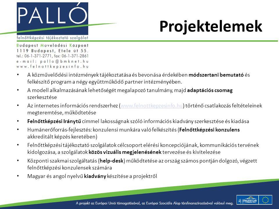 Projektelemek A közművelődési intézmények tájékoztatása és bevonása érdekében módszertani bemutató és felkészítő program a négy együttműködő partner i