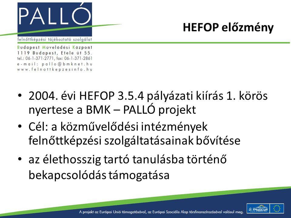 HEFOP előzmény 2004. évi HEFOP 3.5.4 pályázati kiírás 1. körös nyertese a BMK – PALLÓ projekt Cél: a közművelődési intézmények felnőttképzési szolgált