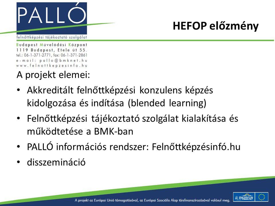 HEFOP előzmény A projekt elemei: Akkreditált felnőttképzési konzulens képzés kidolgozása és indítása (blended learning) Felnőttképzési tájékoztató szo
