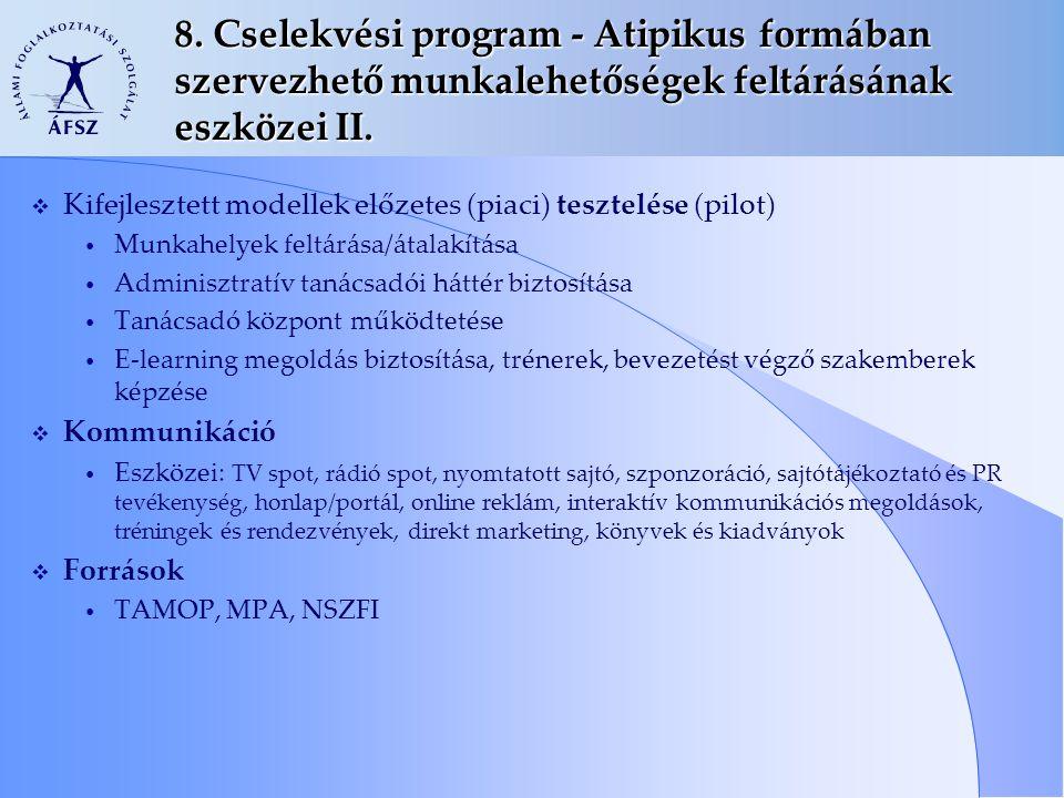 8. Cselekvési program - Atipikus formában szervezhető munkalehetőségek feltárásának eszközei II.  Kifejlesztett modellek előzetes (piaci) tesztelése