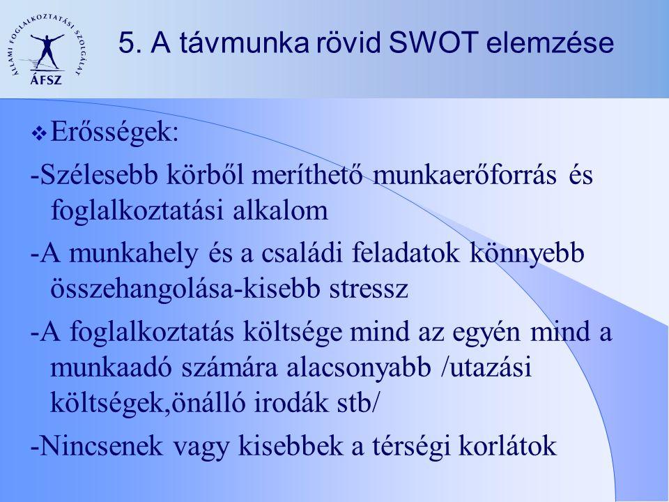 5. A távmunka rövid SWOT elemzése  Erősségek: -Szélesebb körből meríthető munkaerőforrás és foglalkoztatási alkalom -A munkahely és a családi feladat