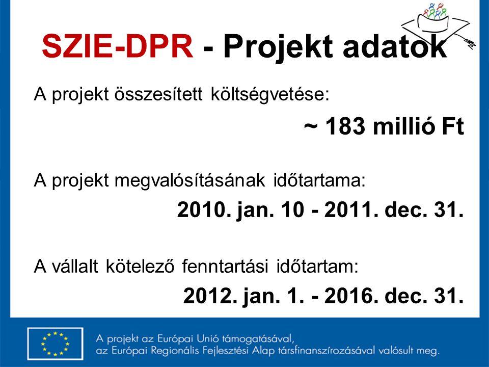 SZIE-DPR - Projekt adatok A projekt összesített költségvetése: ~ 183 millió Ft A projekt megvalósításának időtartama: 2010. jan. 10 - 2011. dec. 31. A