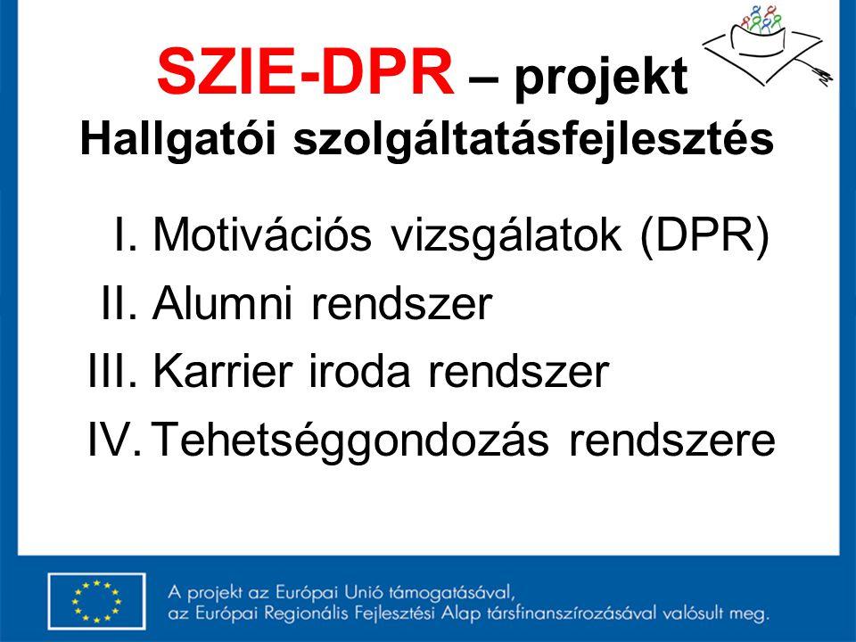 SZIE-DPR – projekt Hallgatói szolgáltatásfejlesztés I. Motivációs vizsgálatok (DPR) II. Alumni rendszer III. Karrier iroda rendszer IV. Tehetséggondoz