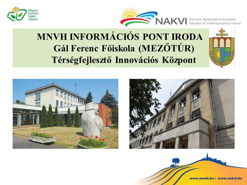 MNVH INFORMÁCIÓS PONT IRODA Gál Ferenc Főiskola (MEZŐTÚR) Térségfejlesztő Innovációs Központ