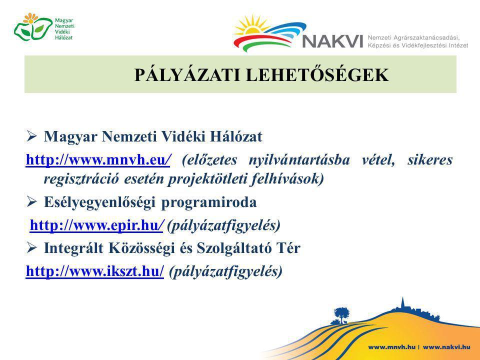 PÁLYÁZATI LEHETŐSÉGEK  Magyar Nemzeti Vidéki Hálózat http://www.mnvh.eu/http://www.mnvh.eu/ (előzetes nyilvántartásba vétel, sikeres regisztráció esetén projektötleti felhívások)  Esélyegyenlőségi programiroda http://www.epir.hu/ (pályázatfigyelés)http://www.epir.hu/  Integrált Közösségi és Szolgáltató Tér http://www.ikszt.hu/http://www.ikszt.hu/ (pályázatfigyelés)