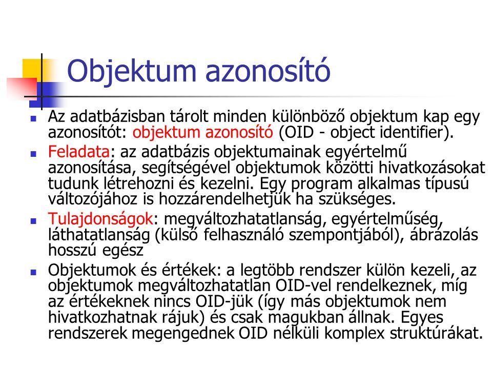 Objektum azonosító Az adatbázisban tárolt minden különböző objektum kap egy azonosítót: objektum azonosító (OID - object identifier). Feladata: az ada