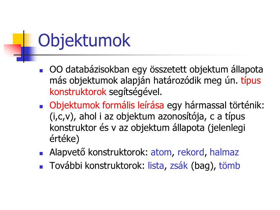 Objektumok OO databázisokban egy összetett objektum állapota más objektumok alapján határozódik meg ún. típus konstruktorok segítségével. Objektumok f