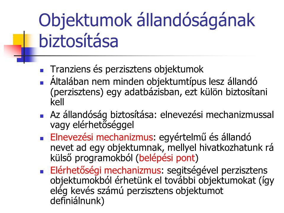 Objektumok állandóságának biztosítása Tranziens és perzisztens objektumok Általában nem minden objektumtípus lesz állandó (perzisztens) egy adatbázisb