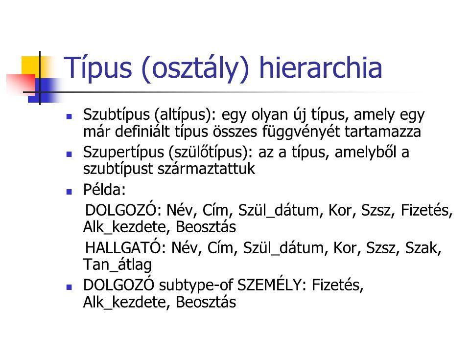 Típus (osztály) hierarchia Szubtípus (altípus): egy olyan új típus, amely egy már definiált típus összes függvényét tartamazza Szupertípus (szülőtípus): az a típus, amelyből a szubtípust származtattuk Példa: DOLGOZÓ: Név, Cím, Szül_dátum, Kor, Szsz, Fizetés, Alk_kezdete, Beosztás HALLGATÓ: Név, Cím, Szül_dátum, Kor, Szsz, Szak, Tan_átlag DOLGOZÓ subtype-of SZEMÉLY: Fizetés, Alk_kezdete, Beosztás