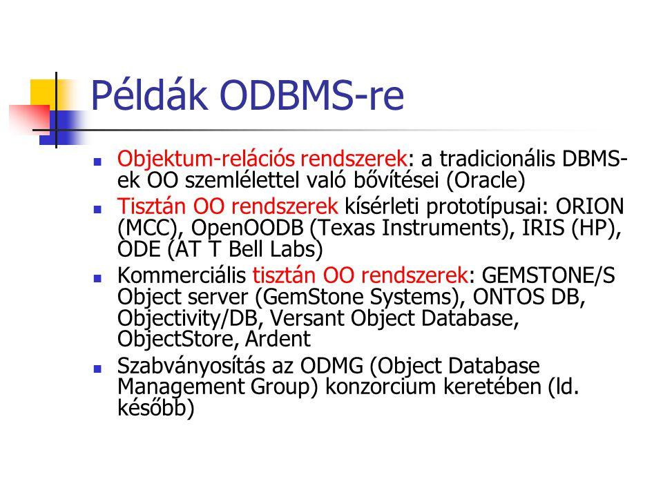 Példák ODBMS-re Objektum-relációs rendszerek: a tradicionális DBMS- ek OO szemlélettel való bővítései (Oracle) Tisztán OO rendszerek kísérleti prototípusai: ORION (MCC), OpenOODB (Texas Instruments), IRIS (HP), ODE (AT T Bell Labs) Kommerciális tisztán OO rendszerek: GEMSTONE/S Object server (GemStone Systems), ONTOS DB, Objectivity/DB, Versant Object Database, ObjectStore, Ardent Szabványosítás az ODMG (Object Database Management Group) konzorcium keretében (ld.