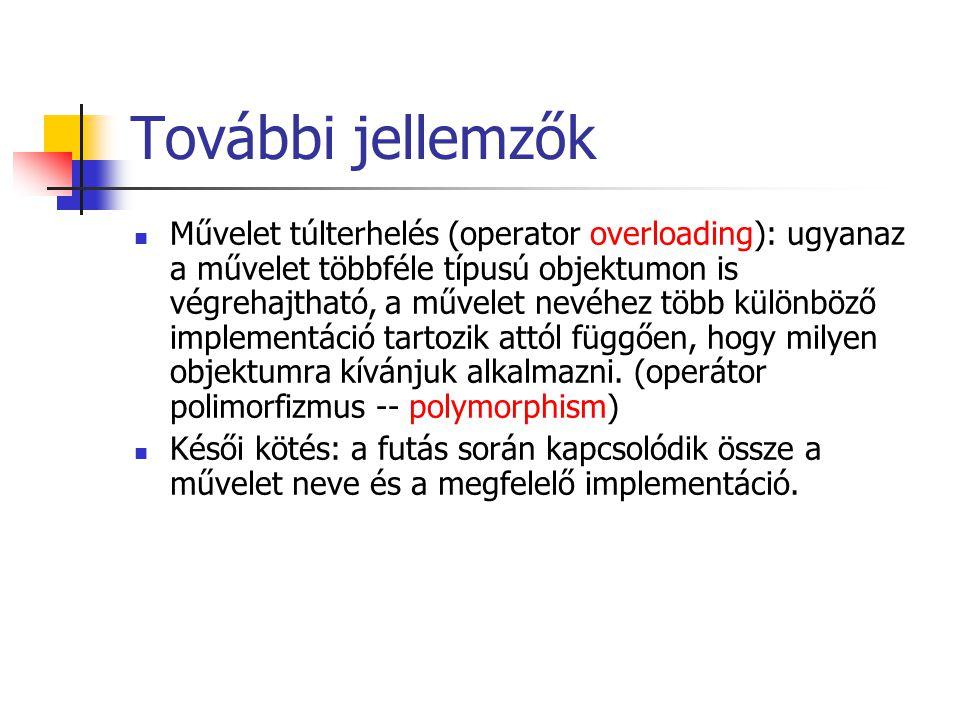 További jellemzők Művelet túlterhelés (operator overloading): ugyanaz a művelet többféle típusú objektumon is végrehajtható, a művelet nevéhez több kü