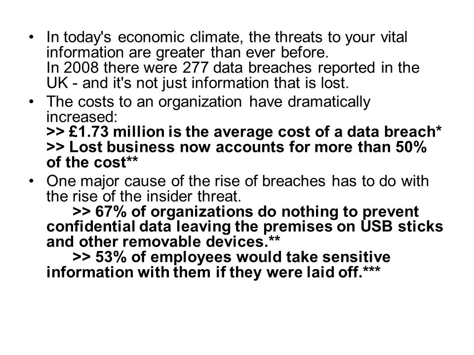 In today's economic climate, the threats to your vital information are greater than ever before. In 2008 there were 277 data breaches reported in the