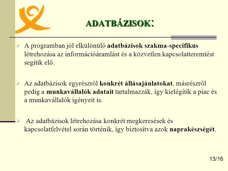 ADATBÁZISOK :  A programban jól elkülönülő adatbázisok szakma-specifikus létrehozása az információáramlást és a közvetlen kapcsolatteremtést segítik