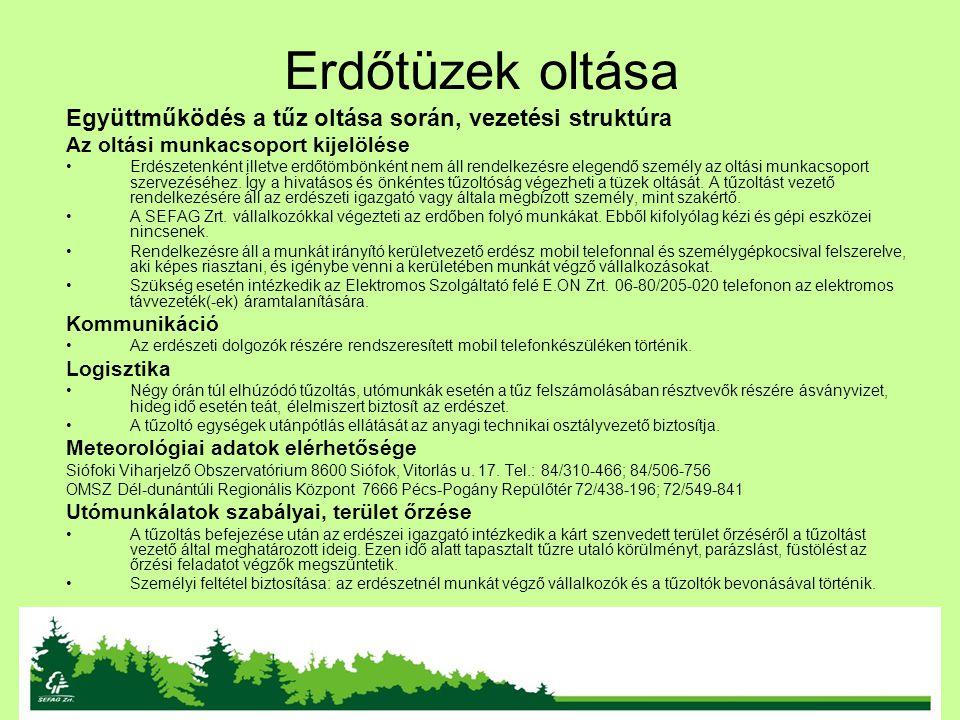 Erdőtüzek oltása Együttműködés a tűz oltása során, vezetési struktúra Az oltási munkacsoport kijelölése Erdészetenként illetve erdőtömbönként nem áll