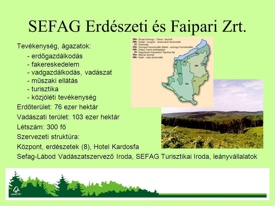 SEFAG Erdészeti és Faipari Zrt. Tevékenység, ágazatok: - erdőgazdálkodás - fakereskedelem - vadgazdálkodás, vadászat - műszaki ellátás - turisztika -