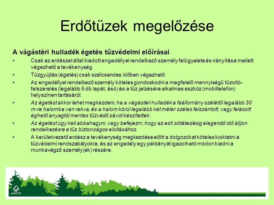 Erdőtüzek megelőzése A vágástéri hulladék égetés tűzvédelmi előírásai Csak az erdészet által kiadott engedéllyel rendelkező személy felügyelete és irá