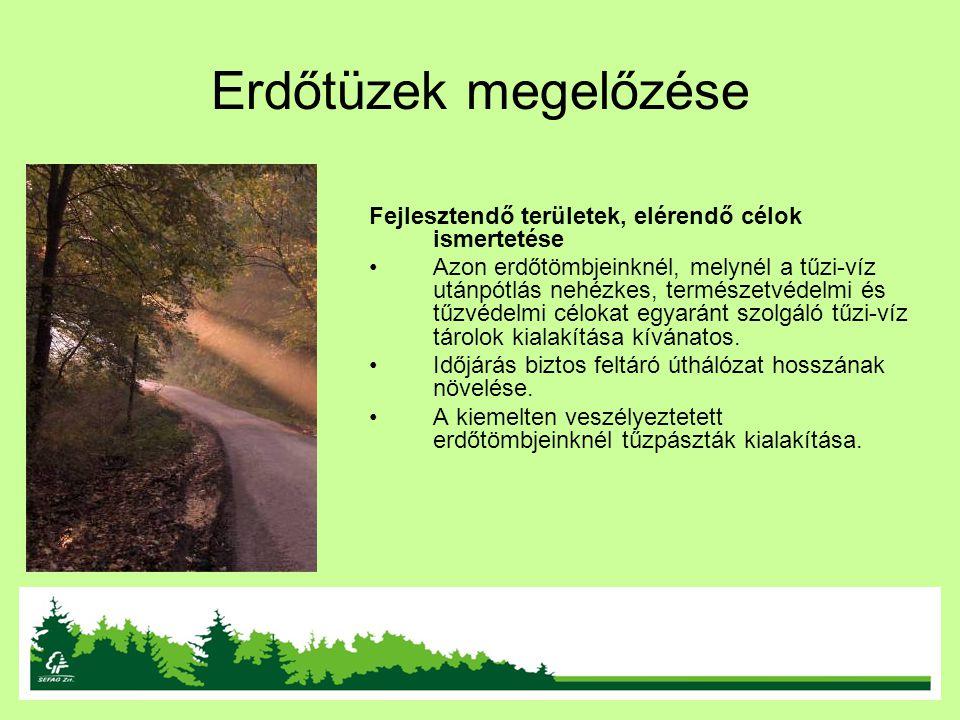 Erdőtüzek megelőzése Fejlesztendő területek, elérendő célok ismertetése Azon erdőtömbjeinknél, melynél a tűzi-víz utánpótlás nehézkes, természetvédelm