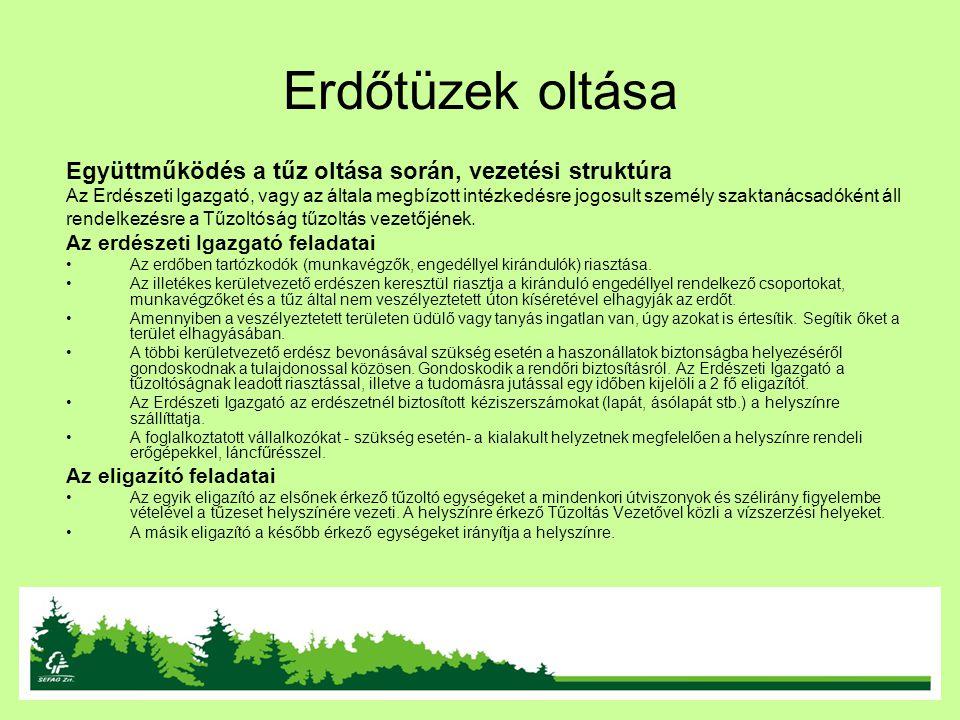 Erdőtüzek oltása Együttműködés a tűz oltása során, vezetési struktúra Az Erdészeti Igazgató, vagy az általa megbízott intézkedésre jogosult személy sz