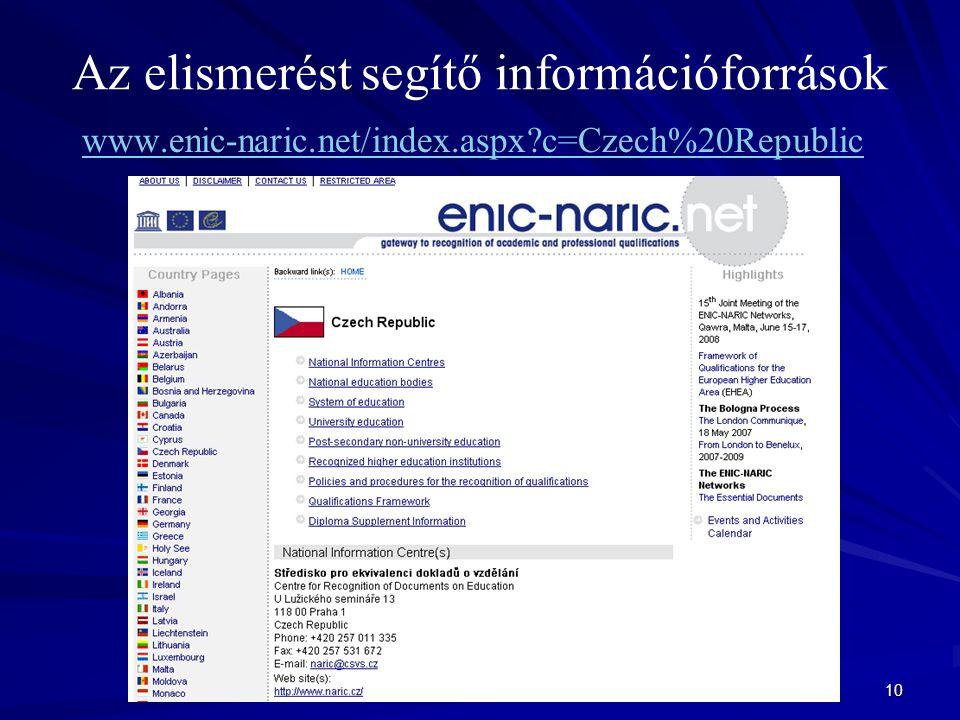 10 Az elismerést segítő információforrások www.enic-naric.net/index.aspx c=Czech%20Republic