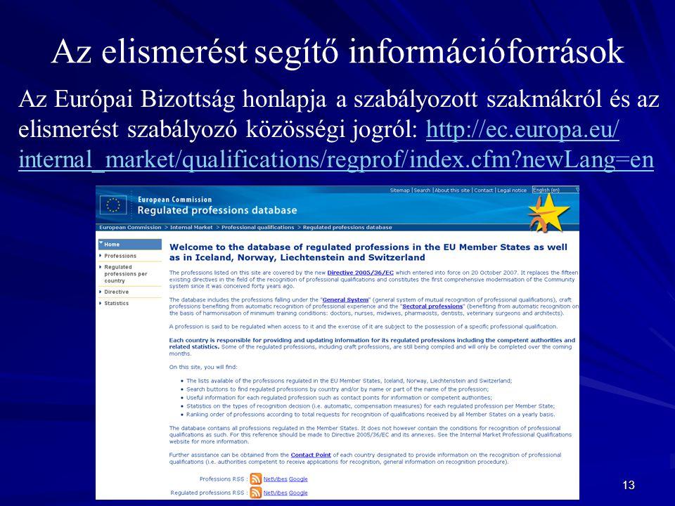 13 Az elismerést segítő információforrások Az Európai Bizottság honlapja a szabályozott szakmákról és az elismerést szabályozó közösségi jogról: http://ec.europa.eu/ internal_market/qualifications/regprof/index.cfm newLang=enhttp://ec.europa.eu/ internal_market/qualifications/regprof/index.cfm newLang=en