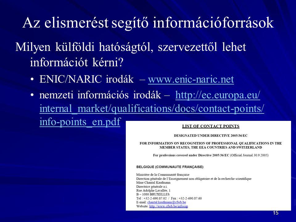 15 Az elismerést segítő információforrások Milyen külföldi hatóságtól, szervezettől lehet információt kérni? ENIC/NARIC irodák – www.enic-naric.netwww
