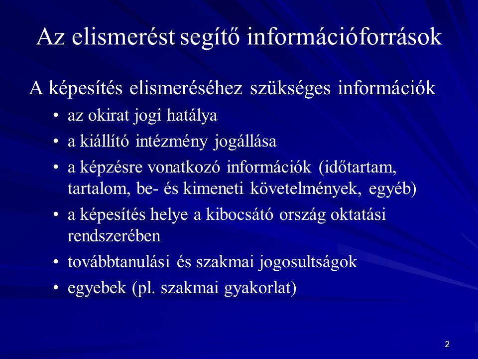 2 Az elismerést segítő információforrások A képesítés elismeréséhez szükséges információk az okirat jogi hatálya a kiállító intézmény jogállása a képz