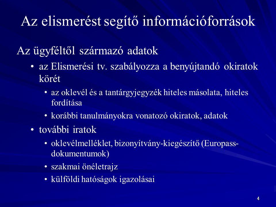 4 Az elismerést segítő információforrások Az ügyféltől származó adatok az Elismerési tv. szabályozza a benyújtandó okiratok körét az oklevél és a tant