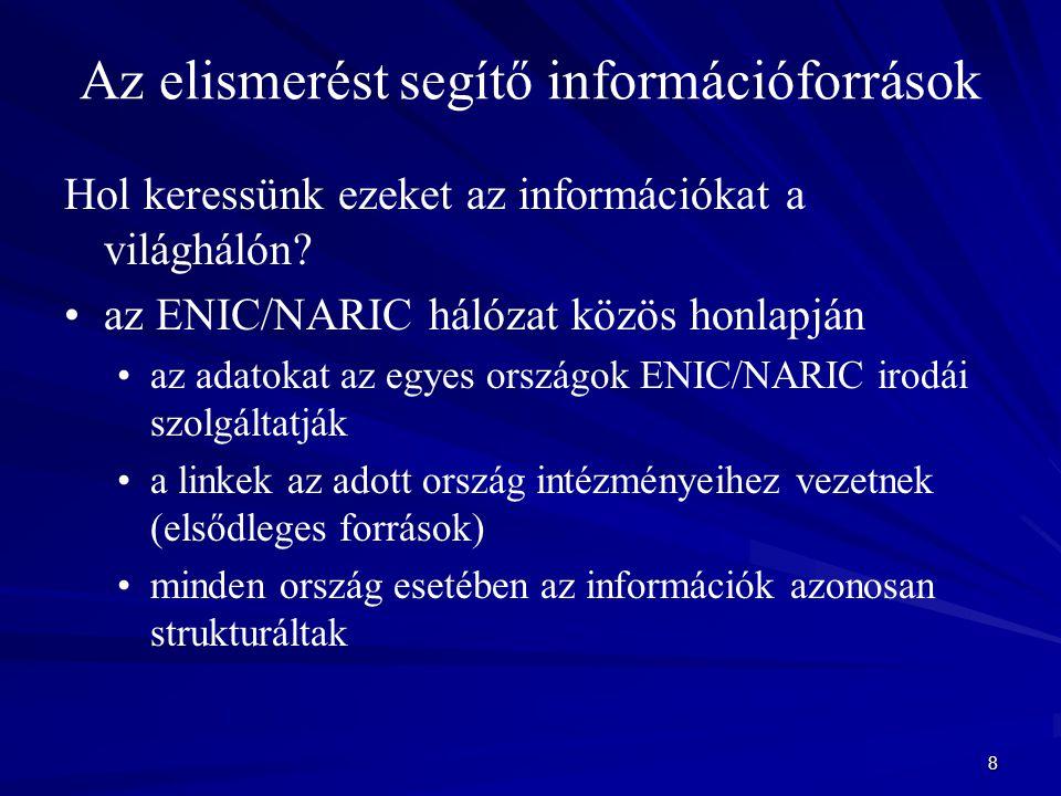 8 Az elismerést segítő információforrások Hol keressünk ezeket az információkat a világhálón? az ENIC/NARIC hálózat közös honlapján az adatokat az egy