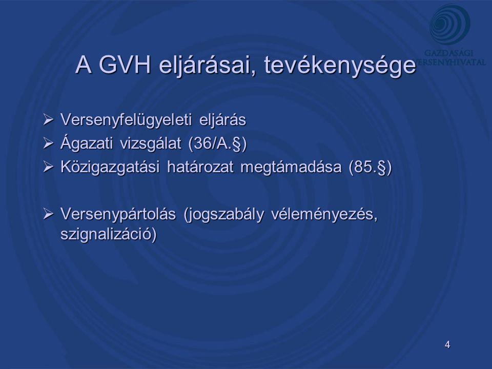 4 A GVH eljárásai, tevékenysége  Versenyfelügyeleti eljárás  Ágazati vizsgálat (36/A.§)  Közigazgatási határozat megtámadása (85.§)  Versenypártolás (jogszabály véleményezés, szignalizáció)