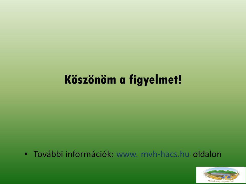 Köszönöm a figyelmet! További információk: www. mvh-hacs.hu oldalon