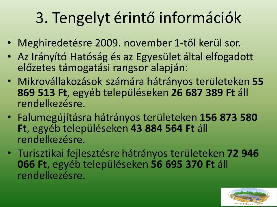 3. Tengelyt érintő információk Meghiredetésre 2009.