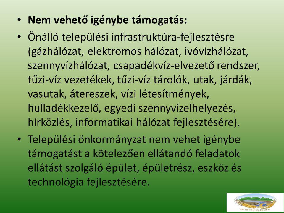 Nem vehető igénybe támogatás: Önálló települési infrastruktúra-fejlesztésre (gázhálózat, elektromos hálózat, ivóvízhálózat, szennyvízhálózat, csapadékvíz-elvezető rendszer, tűzi-víz vezetékek, tűzi-víz tárolók, utak, járdák, vasutak, átereszek, vízi létesítmények, hulladékkezelő, egyedi szennyvízelhelyezés, hírközlés, informatikai hálózat fejlesztésére).