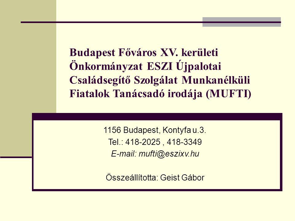 Budapest Főváros XV. kerületi Önkormányzat ESZI Újpalotai Családsegítő Szolgálat Munkanélküli Fiatalok Tanácsadó irodája (MUFTI) 1156 Budapest, Kontyf