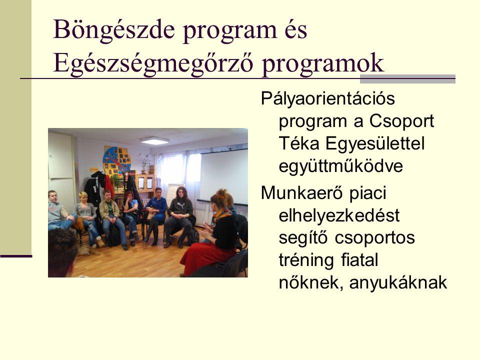 Böngészde program és Egészségmegőrző programok Pályaorientációs program a Csoport Téka Egyesülettel együttműködve Munkaerő piaci elhelyezkedést segítő