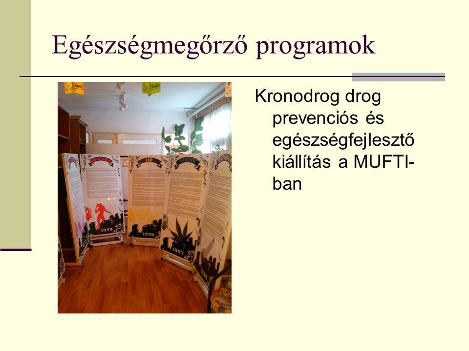 Egészségmegőrző programok Kronodrog drog prevenciós és egészségfejlesztő kiállítás a MUFTI- ban