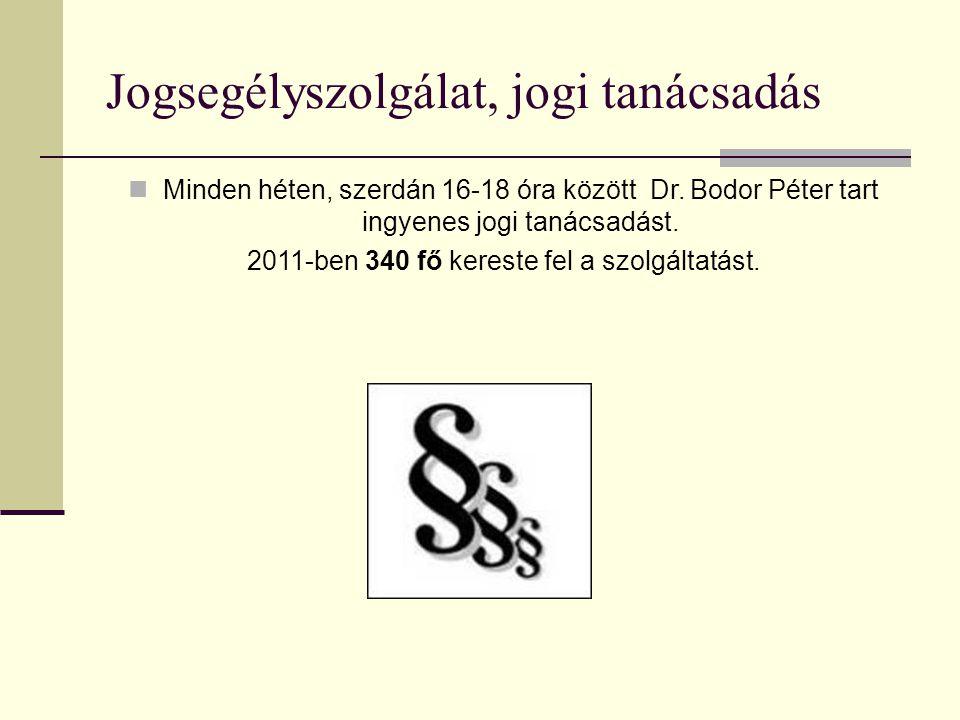 Jogsegélyszolgálat, jogi tanácsadás Minden héten, szerdán 16-18 óra között Dr. Bodor Péter tart ingyenes jogi tanácsadást. 2011-ben 340 fő kereste fel