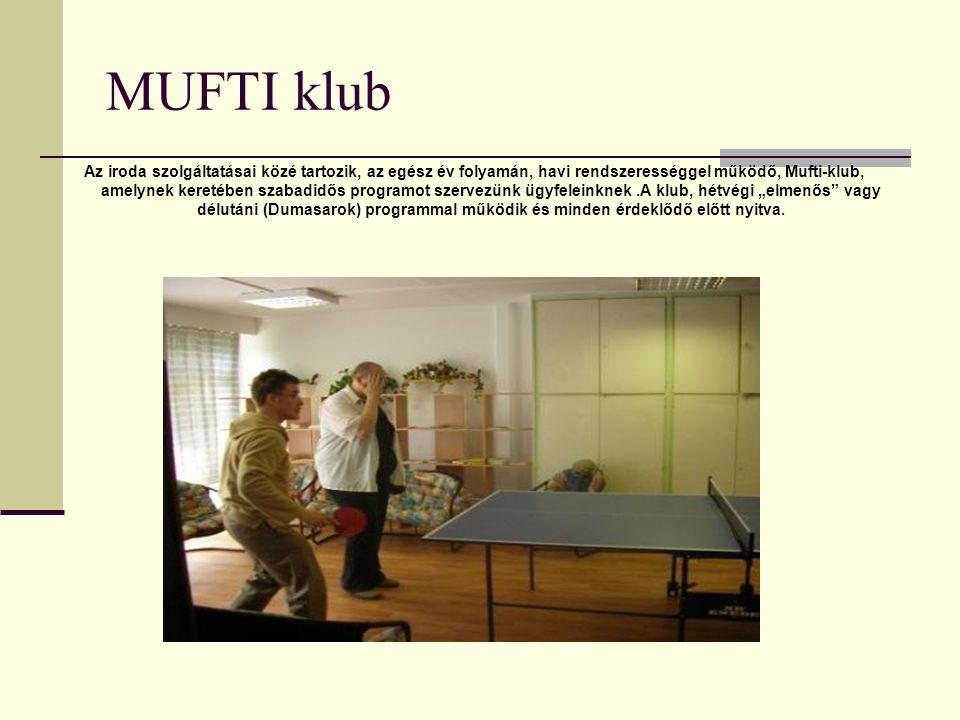 MUFTI klub Az iroda szolgáltatásai közé tartozik, az egész év folyamán, havi rendszerességgel működő, Mufti-klub, amelynek keretében szabadidős progra