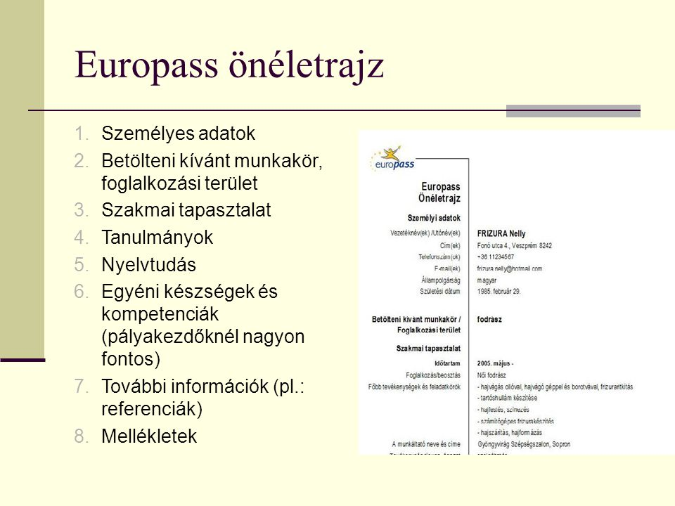 Europass önéletrajz 1.Személyes adatok 2.Betölteni kívánt munkakör, foglalkozási terület 3.Szakmai tapasztalat 4.Tanulmányok 5.Nyelvtudás 6.Egyéni kés
