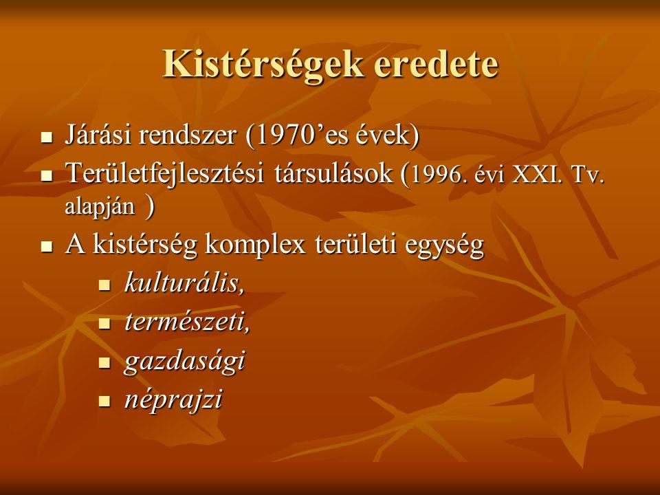 Kistérségek eredete Járási rendszer (1970'es évek) Járási rendszer (1970'es évek) Területfejlesztési társulások ( 1996. évi XXI. Tv. alapján ) Terület