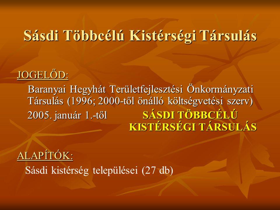 Sásdi Többcélú Kistérségi Társulás JOGELŐD: Baranyai Hegyhát Területfejlesztési Önkormányzati Társulás (1996; 2000-től önálló költségvetési szerv) Bar