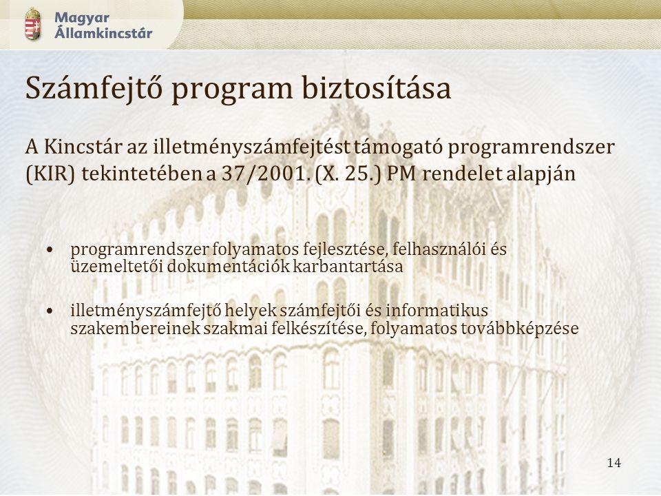 14 Számfejtő program biztosítása A Kincstár az illetményszámfejtést támogató programrendszer (KIR) tekintetében a 37/2001.