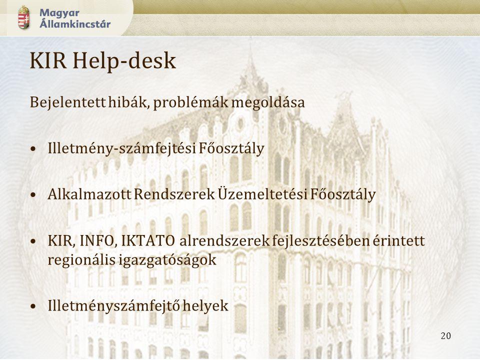 20 KIR Help-desk Bejelentett hibák, problémák megoldása Illetmény-számfejtési Főosztály Alkalmazott Rendszerek Üzemeltetési Főosztály KIR, INFO, IKTATO alrendszerek fejlesztésében érintett regionális igazgatóságok Illetményszámfejtő helyek