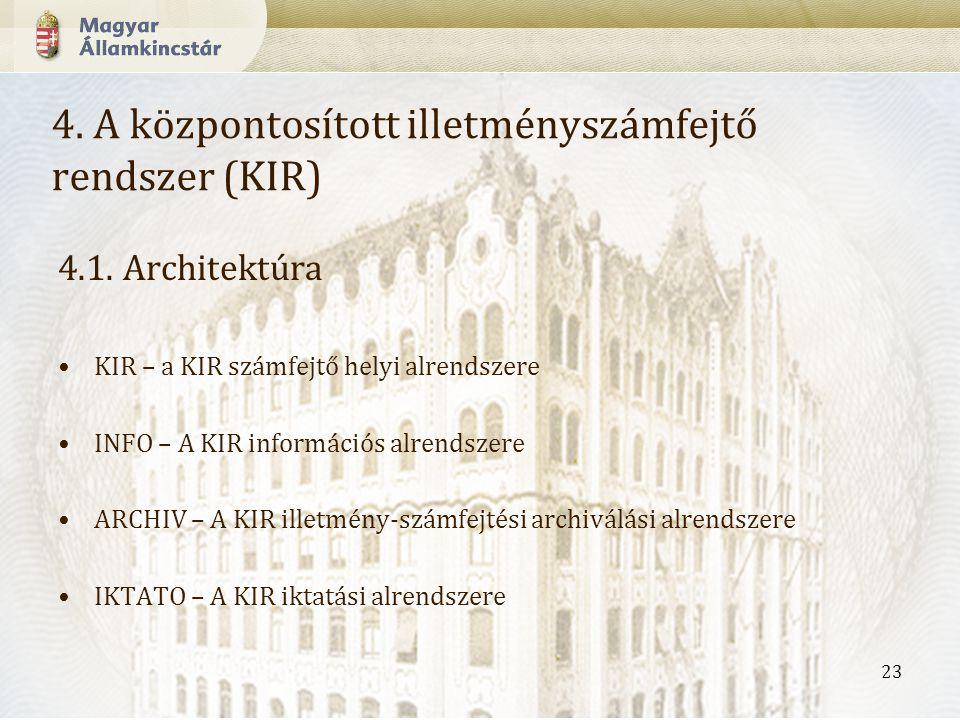 23 4.A központosított illetményszámfejtő rendszer (KIR) 4.1.