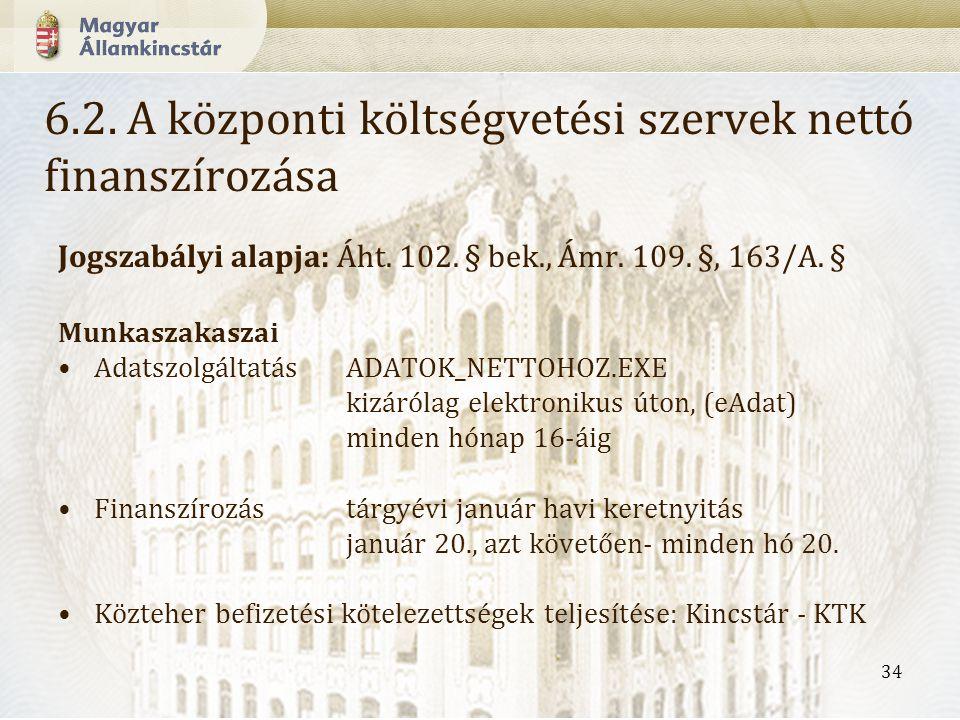 34 Jogszabályi alapja: Áht.102. § bek., Ámr. 109.