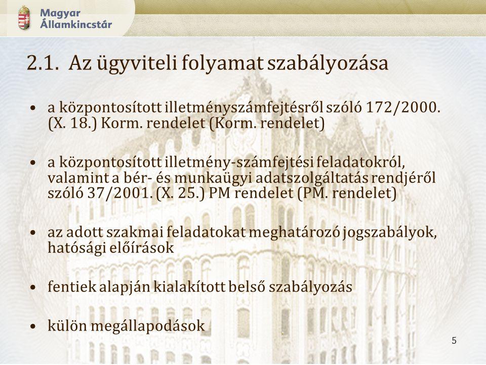5 2.1.Az ügyviteli folyamat szabályozása a központosított illetményszámfejtésről szóló 172/2000.