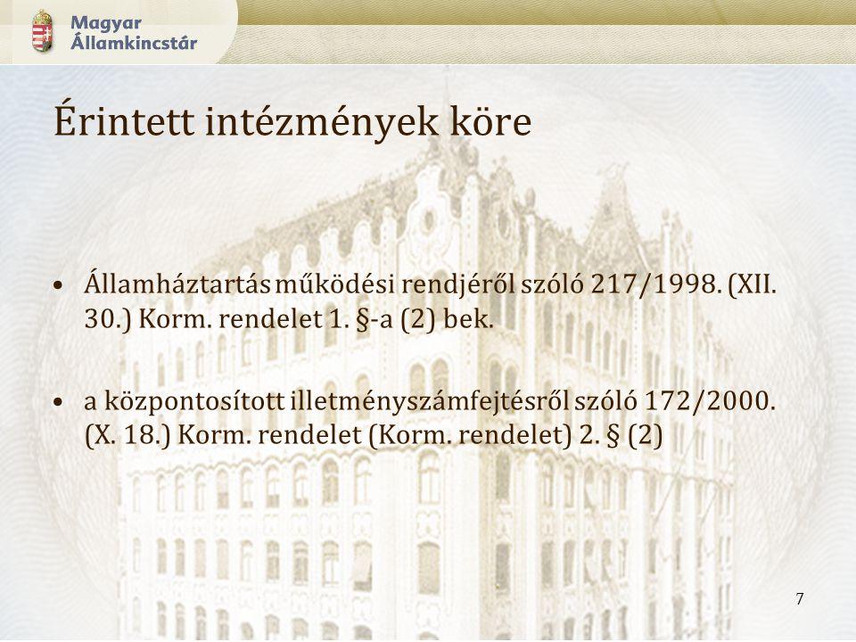 7 Érintett intézmények köre Államháztartás működési rendjéről szóló 217/1998.