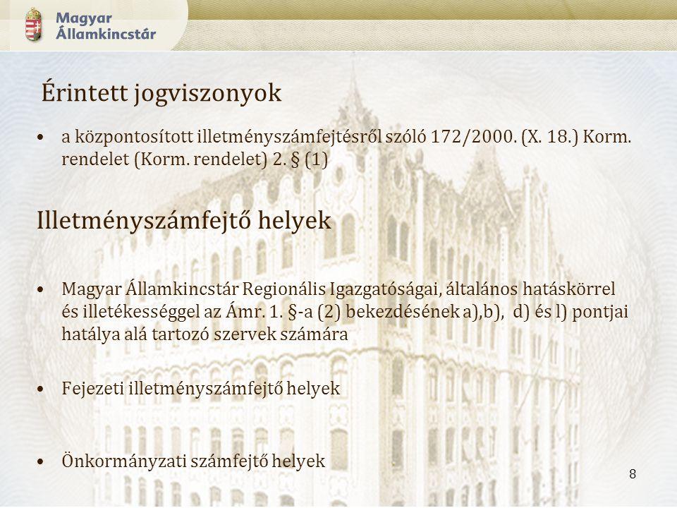 8 Érintett jogviszonyok a központosított illetményszámfejtésről szóló 172/2000.